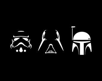 Star Wars Svg - darth vader svg - trooper svg - boba fett silhouette pack svg, dxf, eps