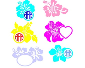 Digital File Hibiscus monogram, Monogram Hibiscus Cutting File, SVG, DXF, EPS File for Vinyl Cutting Machine, Flower Cutting Files