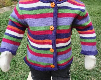 Size 3-6months funky bright n stripey girls hooded knitted cardigan jacket orange daisy buttons
