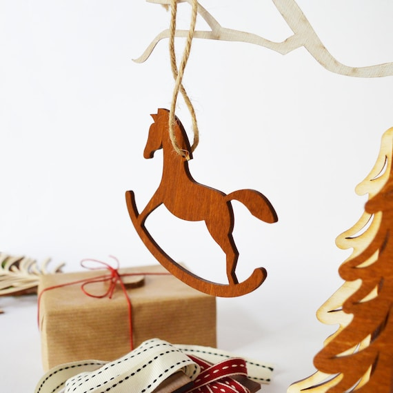 Christmas Horse Decorations.Rocking Horse Christmas Ornament Wooden Rocking Horse Wooden Ornament Vintage Christmas Christmas Horse Wooden Horse Holiday Decor