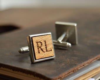 Personalised Cufflinks in Wood | Groom Cufflinks | Groom Gift | Wedding Cufflinks