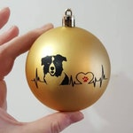 3 inch Christmas Baubles with heartbeat dog breed border collie