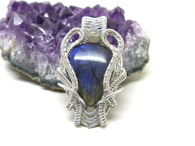 labradorite jewelry st valentines gift labradorite necklace gift for her wire wrapped jewelry Blue labradorite wire wrapped pendant