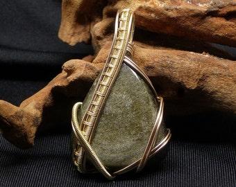 Golden fire obsidian wire wrapped pendant, wire wrapped jewelry, obsidian necklace, obsidian jewelry, elven jewelry, gemstone jewelry, ooak