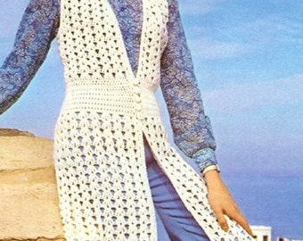 Ladies Long Waistcoat, Crochet Pattern. PDF Instant Download.