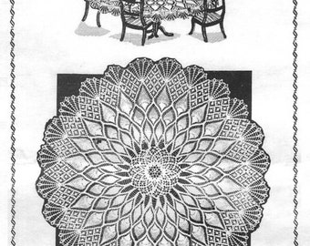 Round Tablecloth, Pineapple Crochet, Crochet Pattern. Instant Download.