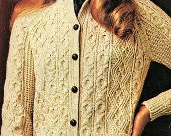 Ladies Aran Jacket, Plus Sizes, Knitting Pattern. PDF Instant Download.