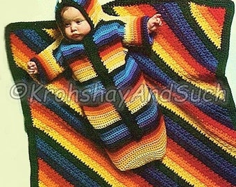 Baby Bunting And Blanket, Pram Cover, Crochet Pattern. PDF Instant Download.