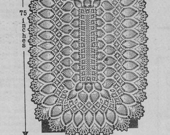 Pineapple Tablecloth, Oblong Tablecloth, Crochet Pattern. PDF Instant Download.