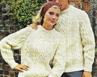 His And Hers Sweaters, Plus Sizes, Knitting Pattern. PDF Instant Download.