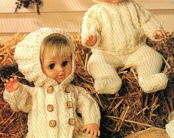 Dolls Coat With Hoodie, Sweater, Leggings And Hat, Knitting Pattern. PDF Instant Download.