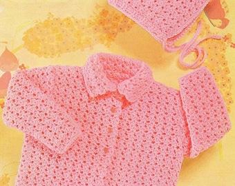 Baby Coat And Bonnet, Crochet Pattern. PDF Instant Download.