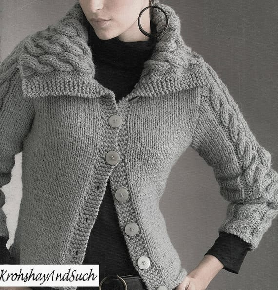Ladies Jacket With Cable Trim And Shawl Collar Knitting Etsy