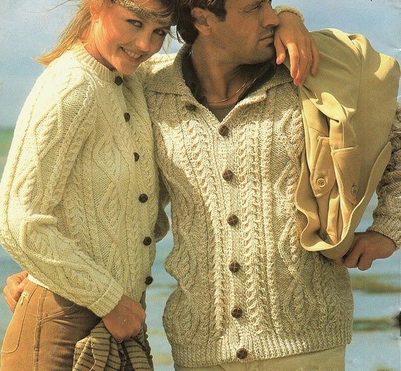 Aran Cardigans His Hers Plus Sizes Knitting Pattern Pdf Etsy