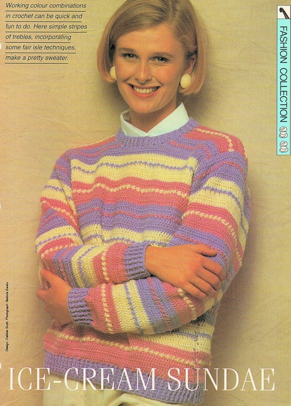 Ladies Sweater Crochet Pattern. PDF Instant Download.  198cbf7c2