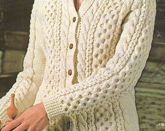 Ladies Aran Cardigan With A Collar, Knitting Pattern. PDF Instant Download.