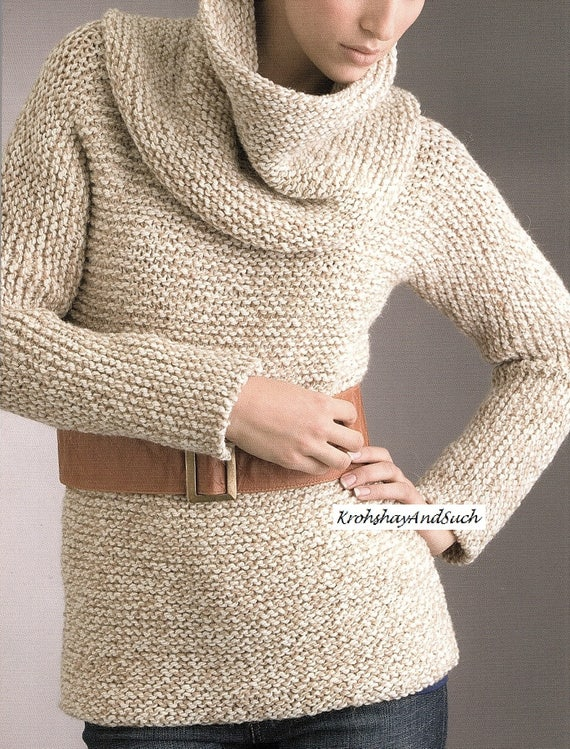 """LADYS KNITTING PATTERN EASY KNIT COWL CREW NECK 2 LENGTHS SWEATER CHUNKY 32-40/"""""""
