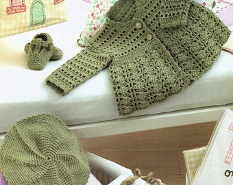 Baby Coat, Beret And Shoes, Crochet Pattern. PDF instant Download.
