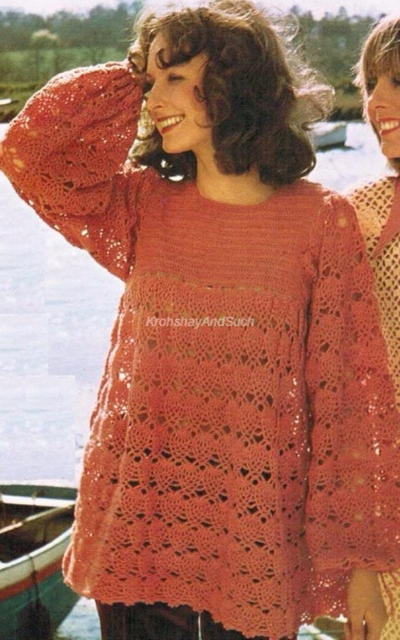 """CROCHET PATTERN Copy To Make LADYS LACY SMOCK TOP TUNIC with LONG SLEEVES 32-36/"""""""