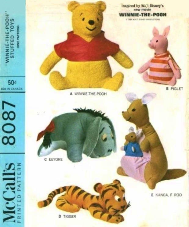 winnie the pooh tigger eeyore piglet and kanga roo sewing etsy