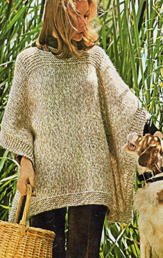 Ladies Poncho Quick And Easy Beginners Knitting Pattern Pdf Instant Download