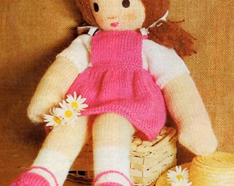 Doll With Removeable Clothes, Knitting Pattern. PDF Instant Download.