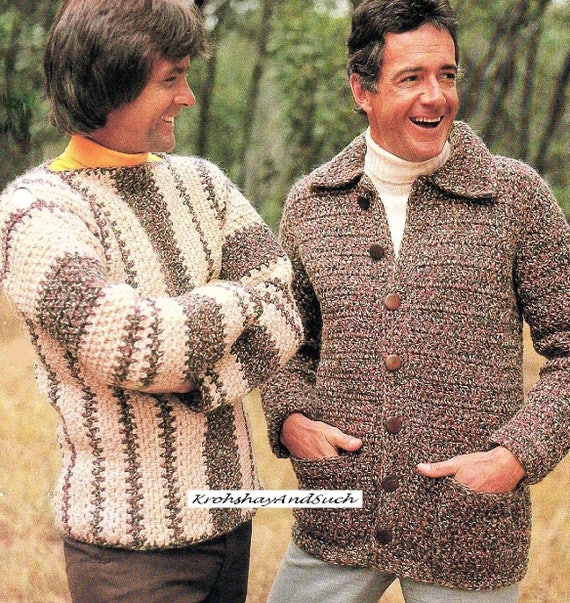 Mens Sweater And Jacket Crochet Pattern Pdf Instant Etsy