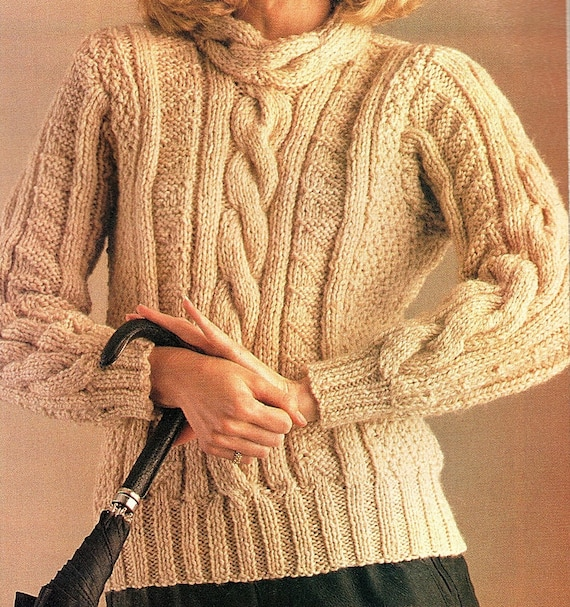 128b660555d167 Ladies Bulky Cable Sweater Knitting Pattern. PDF Instant