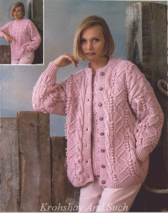 Ladies Cardigan Sweater Aran Knitted Pattern Knitting Etsy