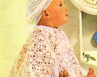 Baby Granny Square Poncho And Beret, Crochet Pattern. PDF Instant Download.