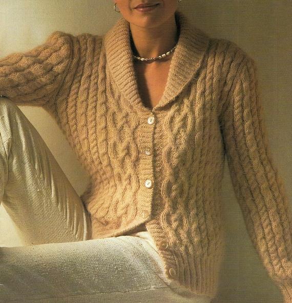 Aran Cardigan With Shawl Collar Knitting Pattern Pdf Instant Etsy