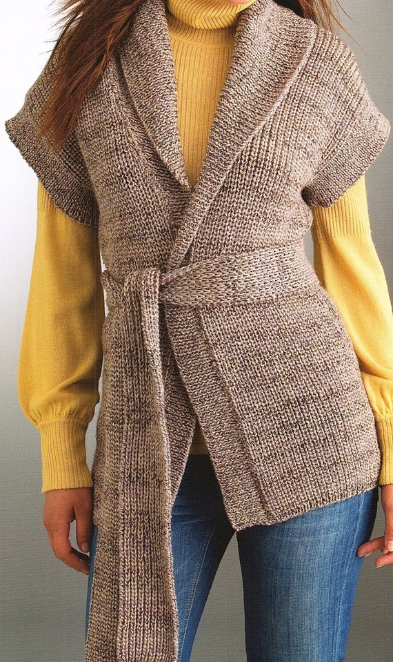 Ladies Vest And Belt With A Shawl Collar Knitting Pattern Etsy