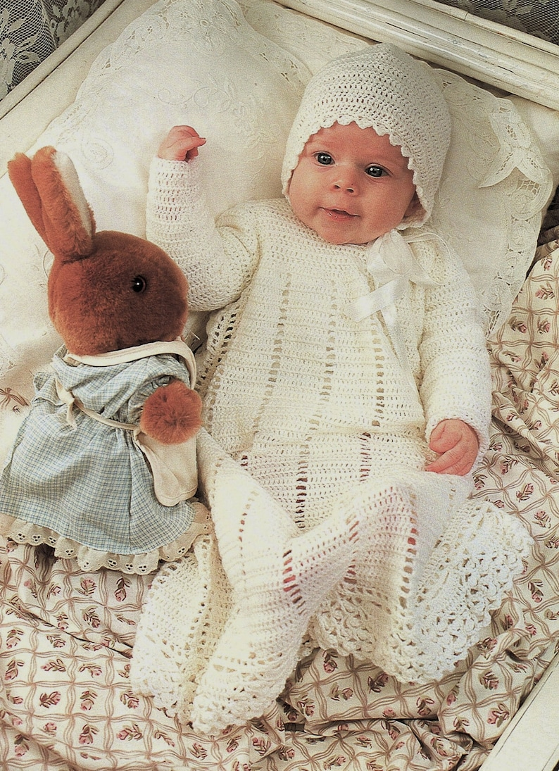 52df7a58a Baby Layette Set Dress Jacket Bonnet Booties And Shawl