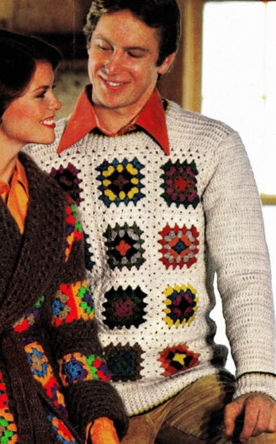 Mens Sweater Granny Square Plus Size Crochet Pattern Pdf Etsy