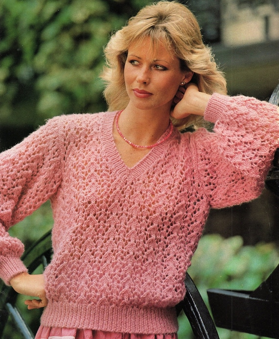 ab555a812 Ladies Lacy V Neck Sweater Knitting Pattern. PDF Instant