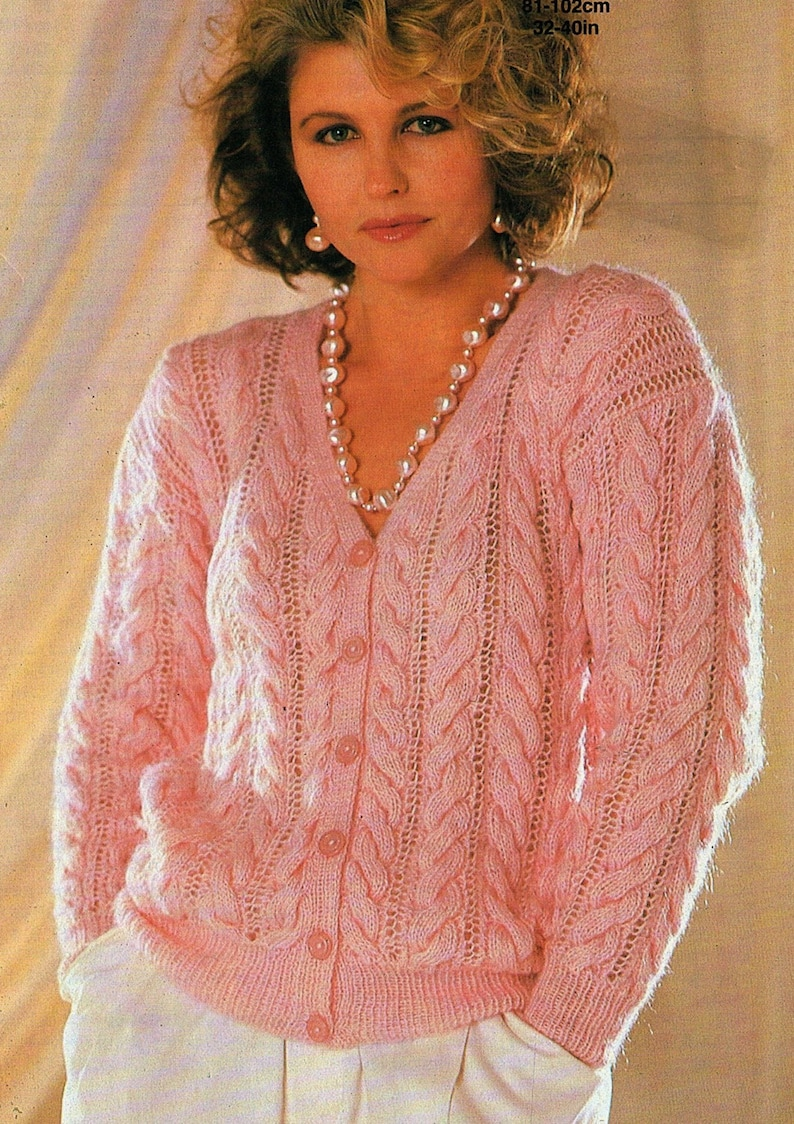 fbd3bb634 Ladies Cable And Lace Cardigan Plus Size Knitting Pattern.