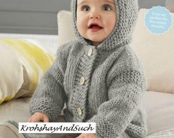 Baby Hooded Jacket & Booties, Chunky Easy Knit, Knitting Pattern. PDF Instant Download.