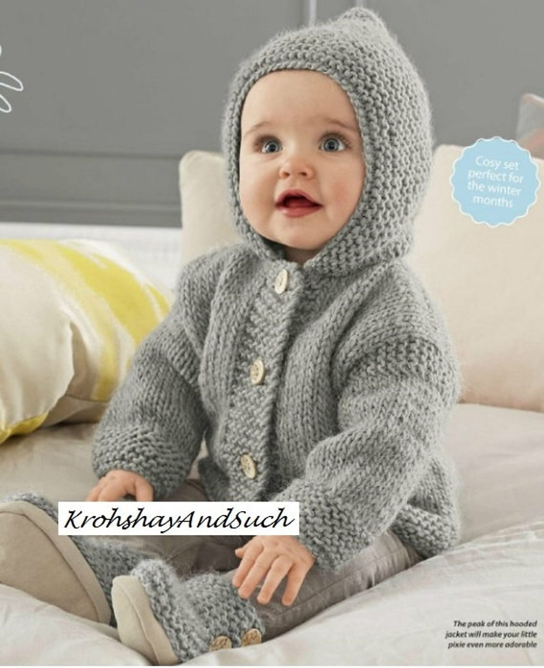 b70c4ac51 Baby Hooded Jacket   Booties Chunky Easy Knit Knitting