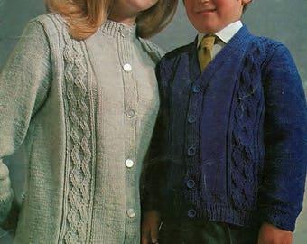Cardigans DK, Round & V Neck, Knitting Pattern. PDF Instant Download.