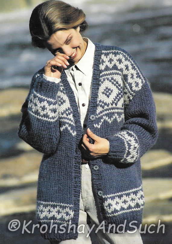 lower price with unique style search for authentic Fair Isle Cardigan, Plus Size, Super Bulky, Knitting Pattern. PDF Instant  Download.