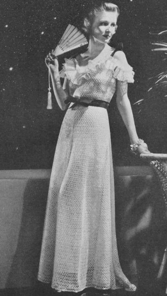 1920\'s Evening Gown Wedding Dress Drop Shoulder Crochet | Etsy