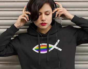 Unisex Hoodie, Hooded Sweatshirt, Pride Hoodie, Christian Hoodie, Jesus Fish, Pride Flag, Proud Jesus, Womens Hoodie, Mens Hoodie, Christian