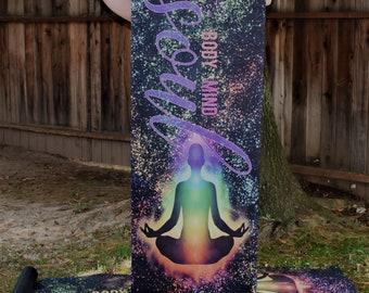 Chakra Yoga Mat Chakra Art Yoga Mat Body Mind Soul NonToxic Yoga Mat Yoga Gift Meditation Mat Microfiber Microsuede Mat