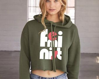 Cropped Hoodie, Feminist Sweatshirt, Feminist Hoodie