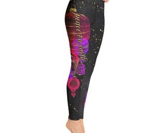 Christmas Yoga Pants, Peace on Earth Christmas Ornaments Leggings