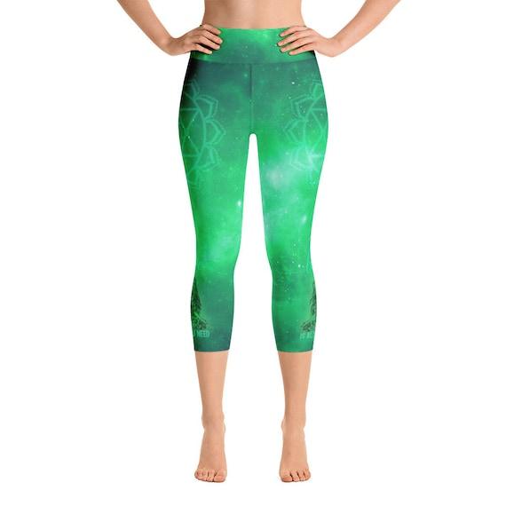 Women s Yoga Pants Heart Chakra Green Capri Yoga Leggings  1ee757147ea37