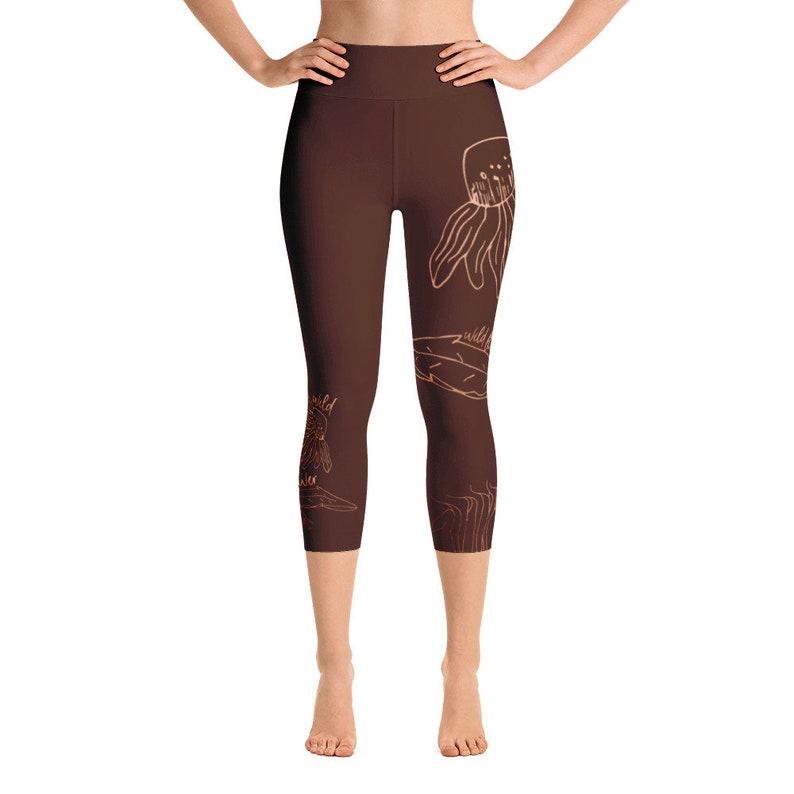 Printed Leggings Copper Dandelion Leggings Women Coffee Wildflower Fall Yoga Leggings Yoga Pants Yoga Capri Leggings
