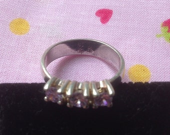 Ring Vintage silver and Amethyst size 58