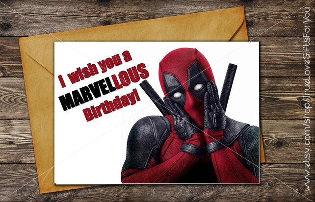 Deadpool Birthday Card Printable Greeting Card Instant Etsy