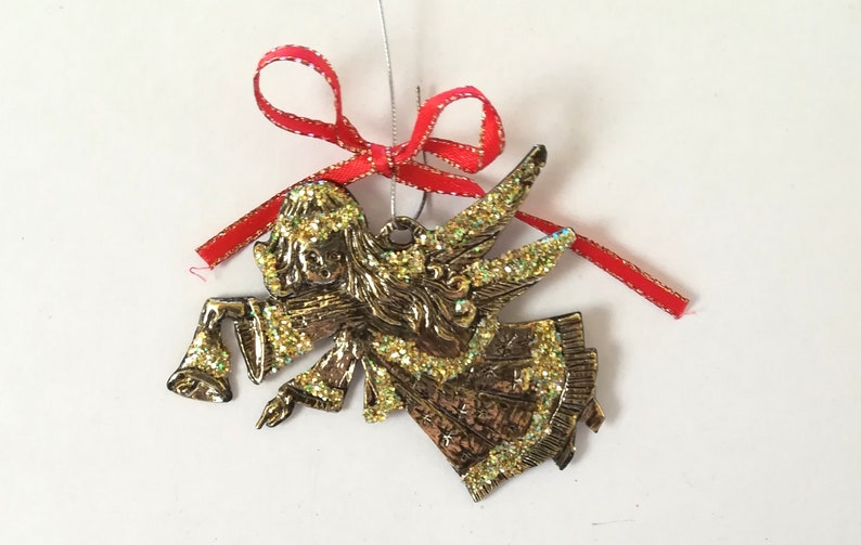 Christmas Angel Christmas Bell decoration in gold color with gold glitters